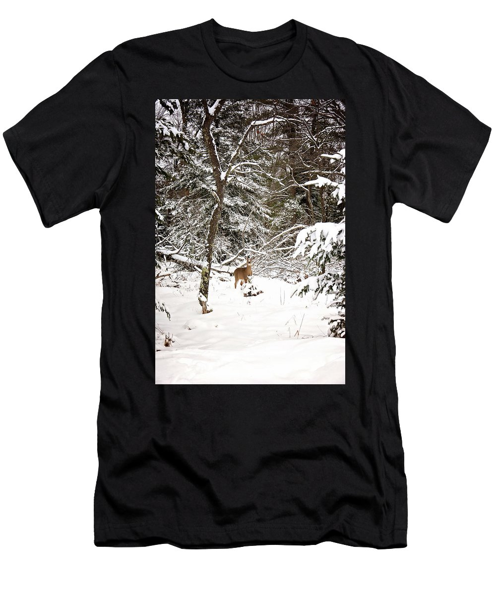 Winter Doe In The Upper Peninsula Of Michigan. Deer In The Snow Men's T-Shirt (Athletic Fit) featuring the photograph Winter Doe In The Upper Peninsula by Gwen Gibson