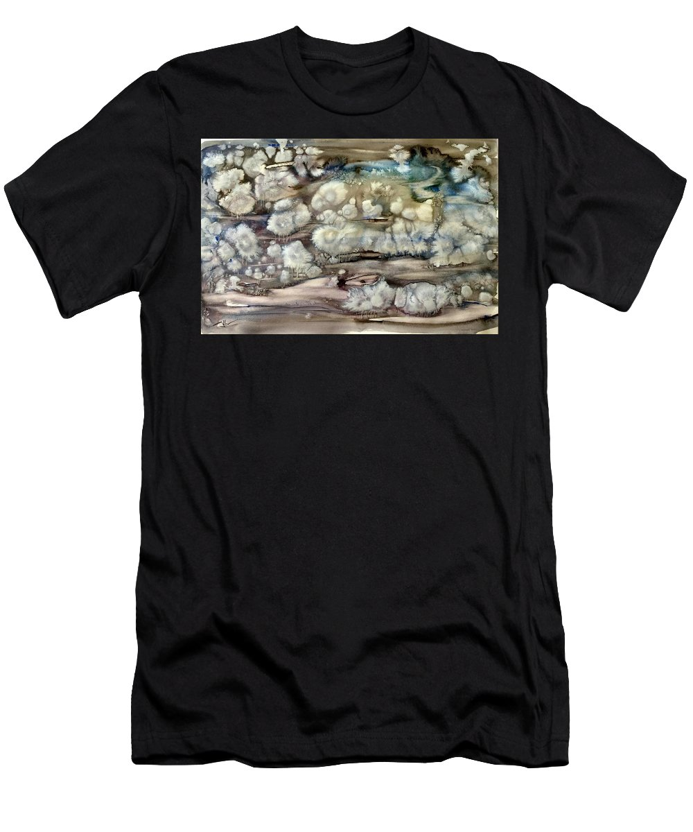 Winter Men's T-Shirt (Athletic Fit) featuring the painting Winter Fantasy by Katerina Kovatcheva