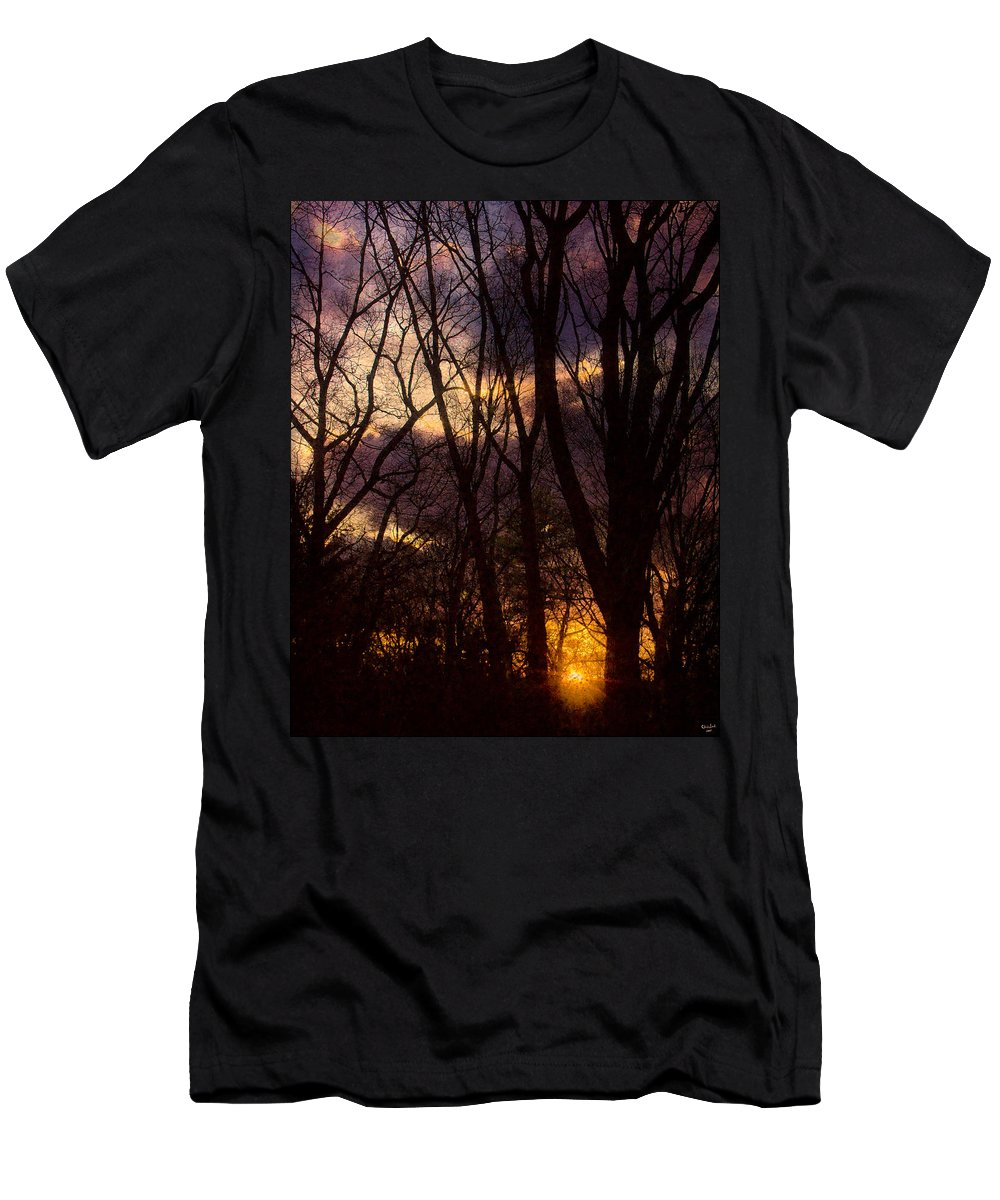 Tree Men's T-Shirt (Athletic Fit) featuring the photograph Winter Forest Sunrise by Chris Lord
