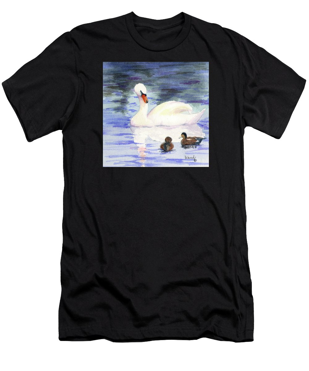 Swan Men's T-Shirt (Athletic Fit) featuring the painting Winter Friends by Wendy Mould