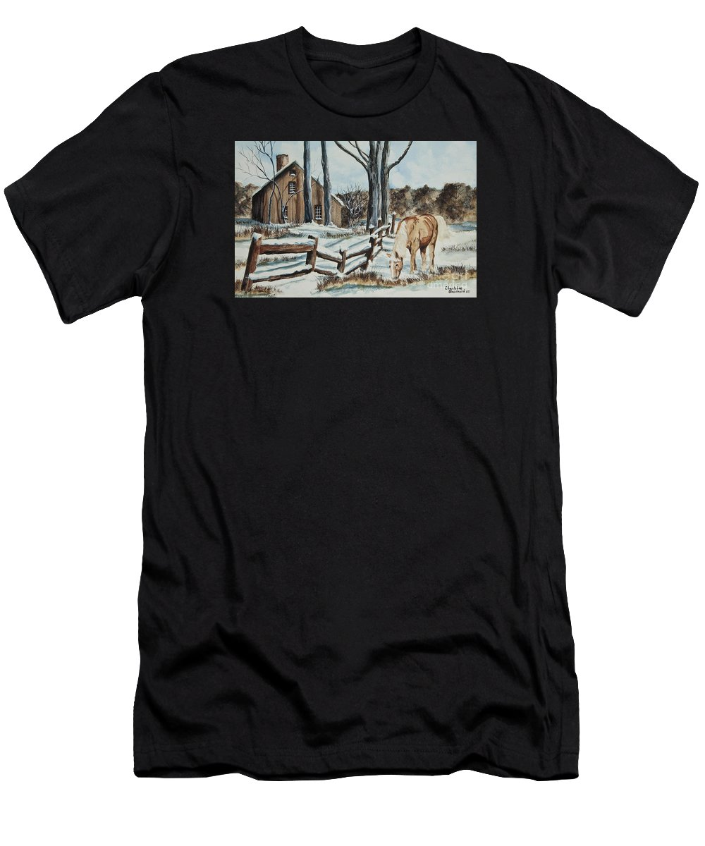 Horse Men's T-Shirt (Athletic Fit) featuring the painting Winter Grazing by Charlotte Blanchard