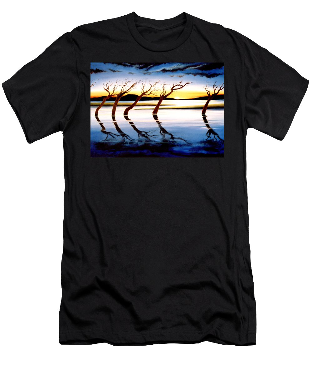 Seascape Men's T-Shirt (Athletic Fit) featuring the painting Winter Heatwave by Mark Cawood