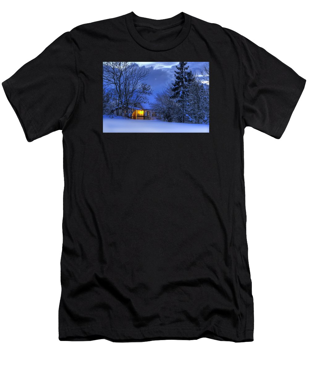 Winter Men's T-Shirt (Athletic Fit) featuring the photograph Winter House by Jan Boesen