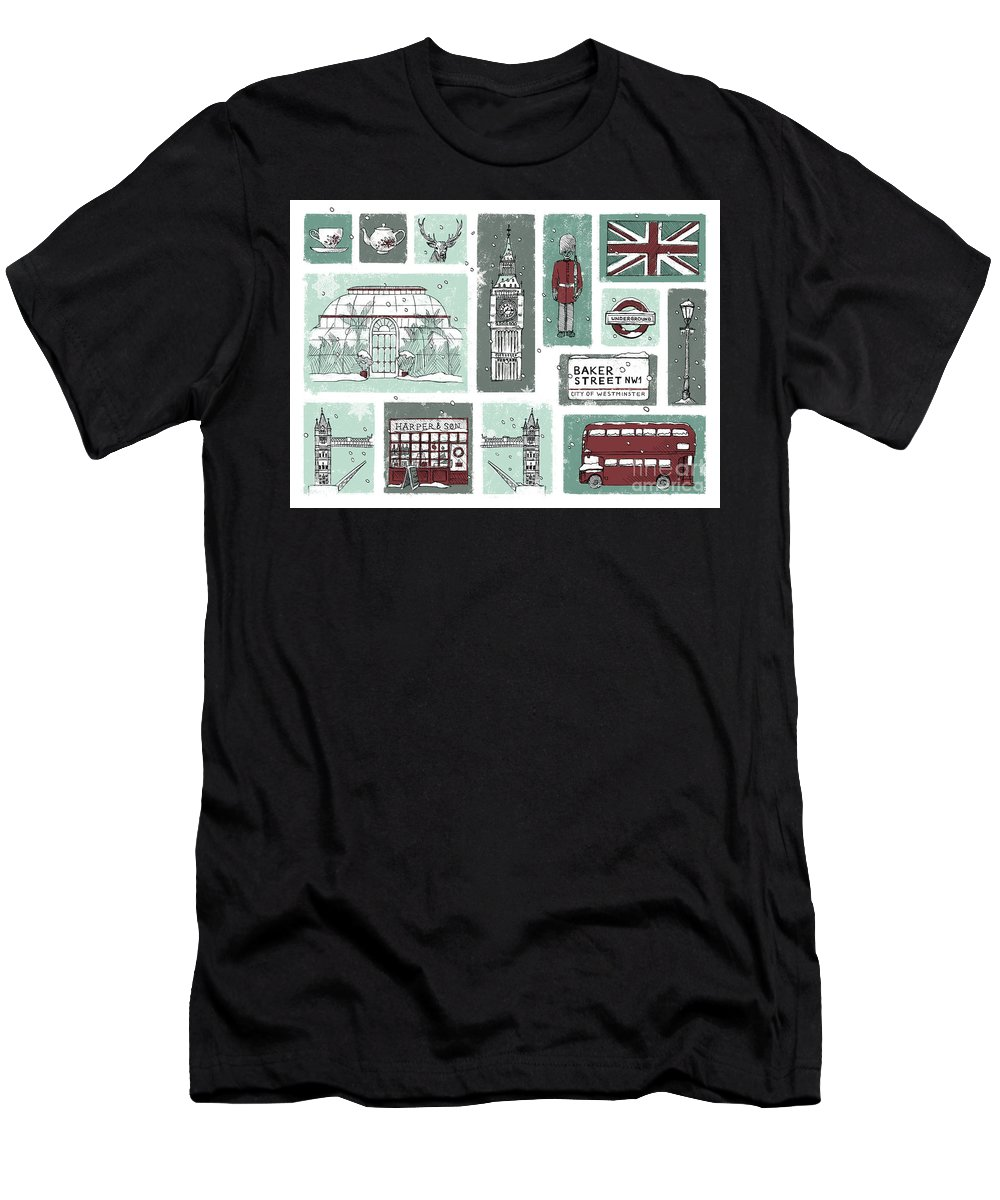 London Men's T-Shirt (Athletic Fit) featuring the digital art Winter In London by Nazli Oluz