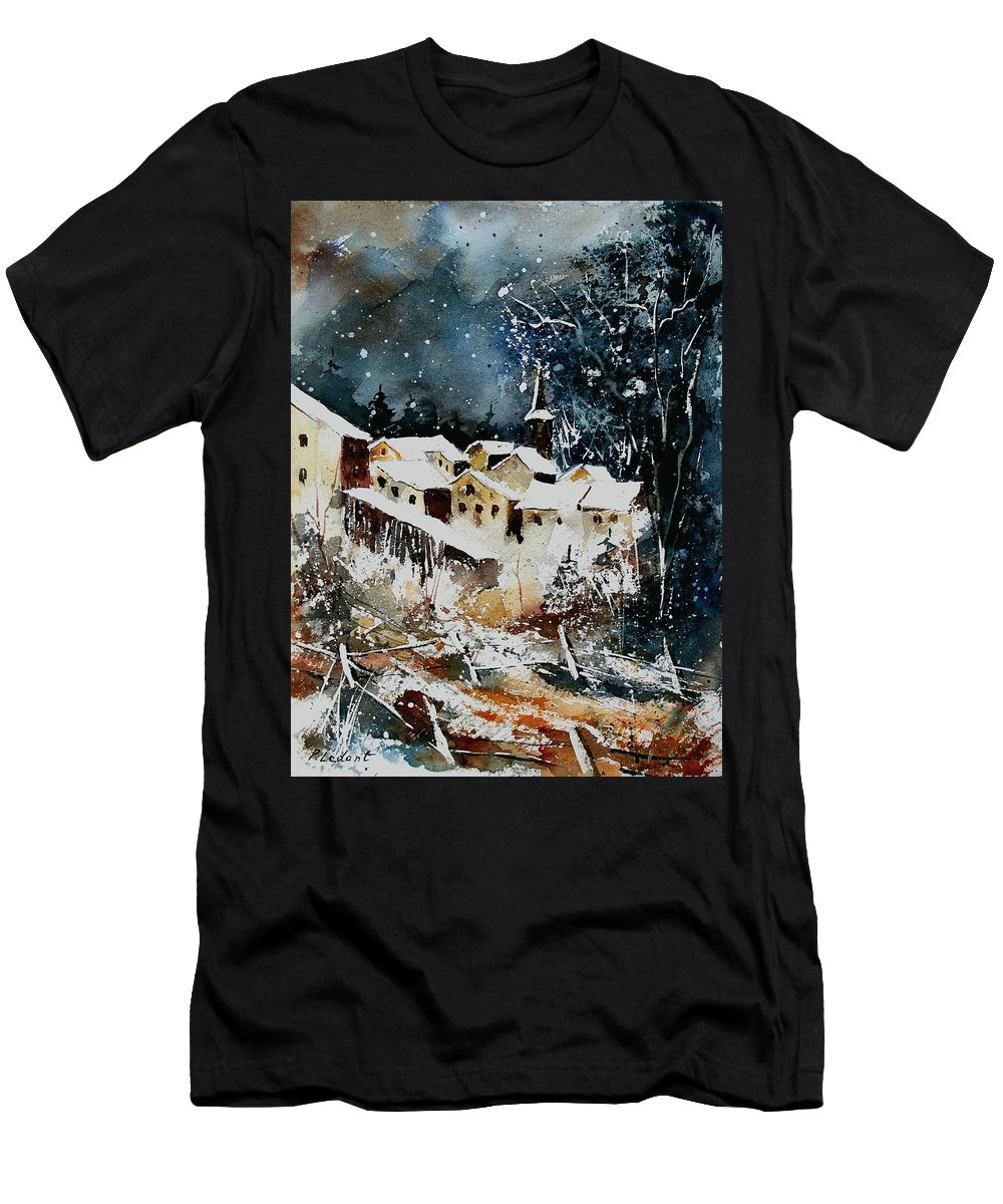 Winter Men's T-Shirt (Athletic Fit) featuring the painting Winter In Vivy by Pol Ledent
