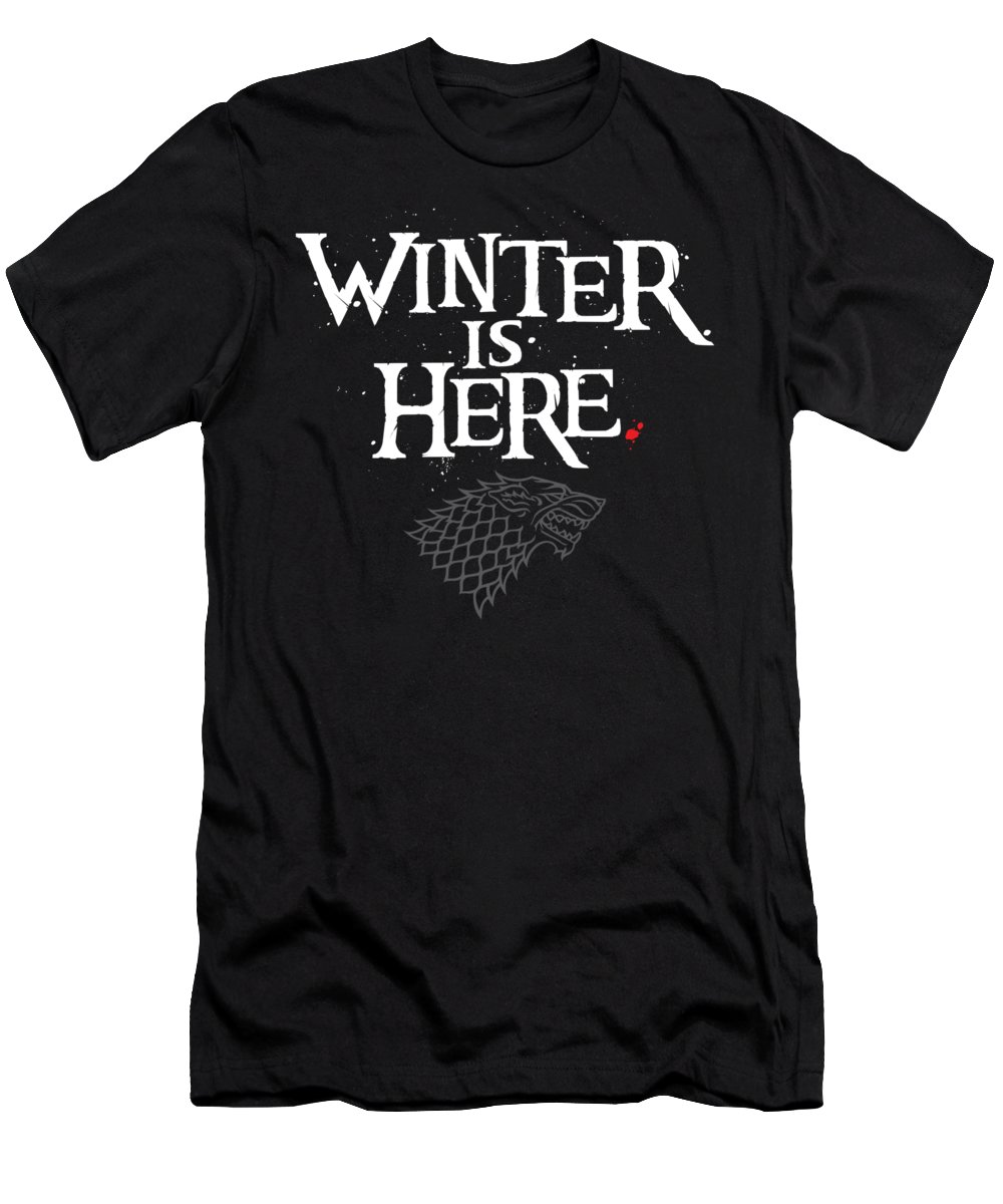 Game Of Thrones T-Shirt featuring the digital art Winter Is Here - Stark Sigil by Edward Draganski