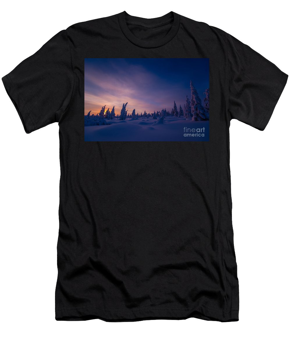 Northern Men's T-Shirt (Athletic Fit) featuring the photograph Winter Lanscape With Sunset, Trees And Cliffs Over The Snow. by Oxana Gracheva