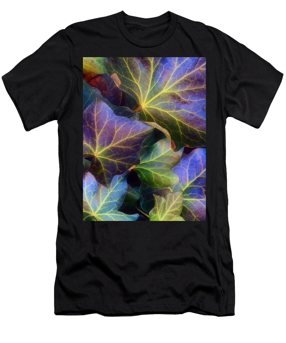 Leaves Men's T-Shirt (Athletic Fit) featuring the photograph Winter Leaves by Tara Turner
