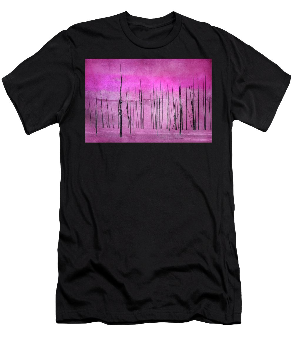Yellowstone Men's T-Shirt (Athletic Fit) featuring the photograph Winter Pink 7913pink by Karen Celella