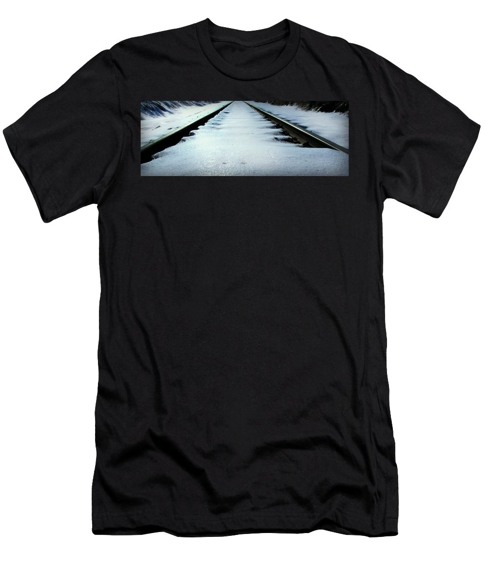 Snow Men's T-Shirt (Athletic Fit) featuring the photograph Winter Railroad Tracks by Julie Dybevik