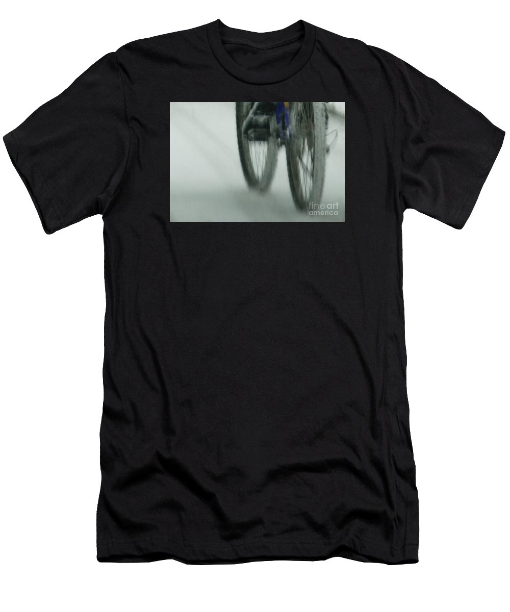 Bicycle Men's T-Shirt (Athletic Fit) featuring the photograph Winter Ride by Linda Shafer