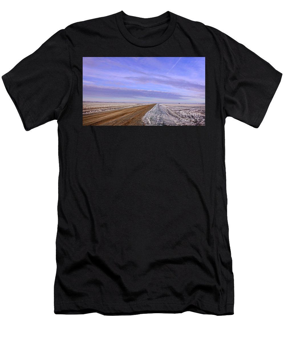 Photo Men's T-Shirt (Athletic Fit) featuring the photograph Winter Road by Viktor Birkus