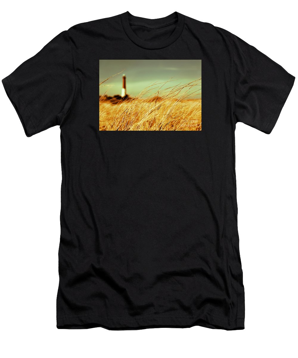 Lighthouse Men's T-Shirt (Athletic Fit) featuring the photograph Winter Shore Breeze by Dana DiPasquale