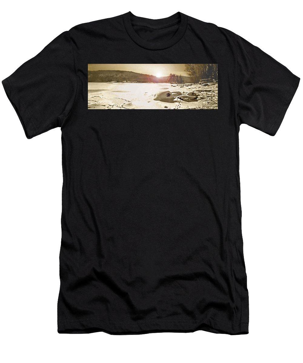 Landscape Men's T-Shirt (Athletic Fit) featuring the photograph Winter Sun by Steve Karol