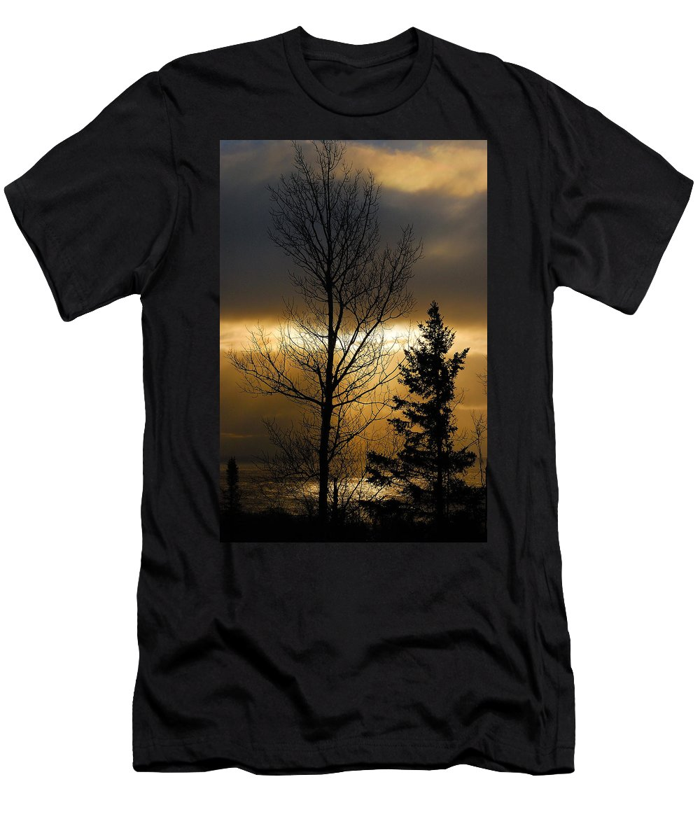 Nature Men's T-Shirt (Athletic Fit) featuring the photograph Winter Sunrise 2 by Sebastian Musial