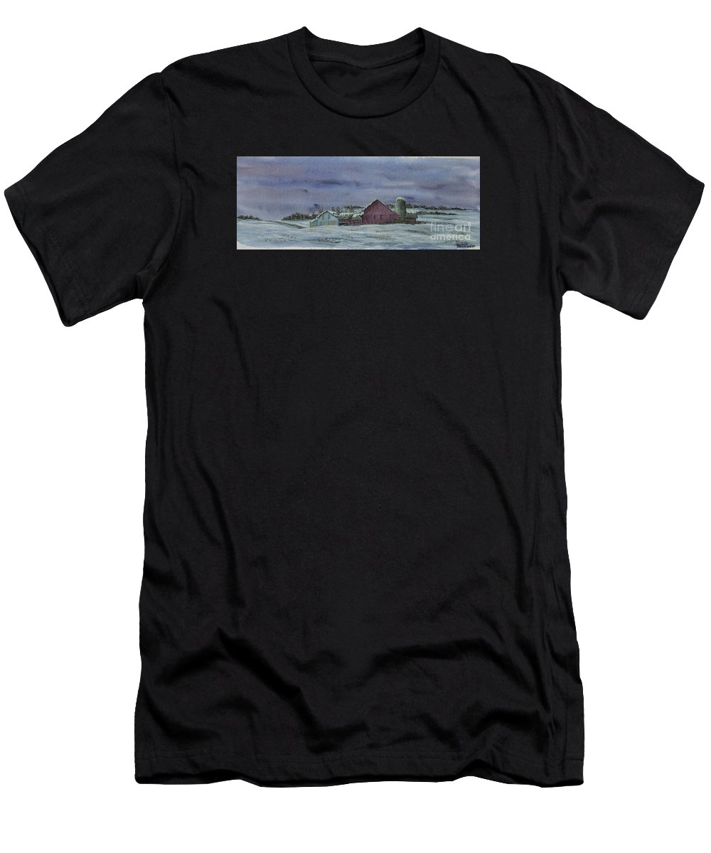 Barn Men's T-Shirt (Athletic Fit) featuring the painting Winter Sunset by Charlotte Blanchard