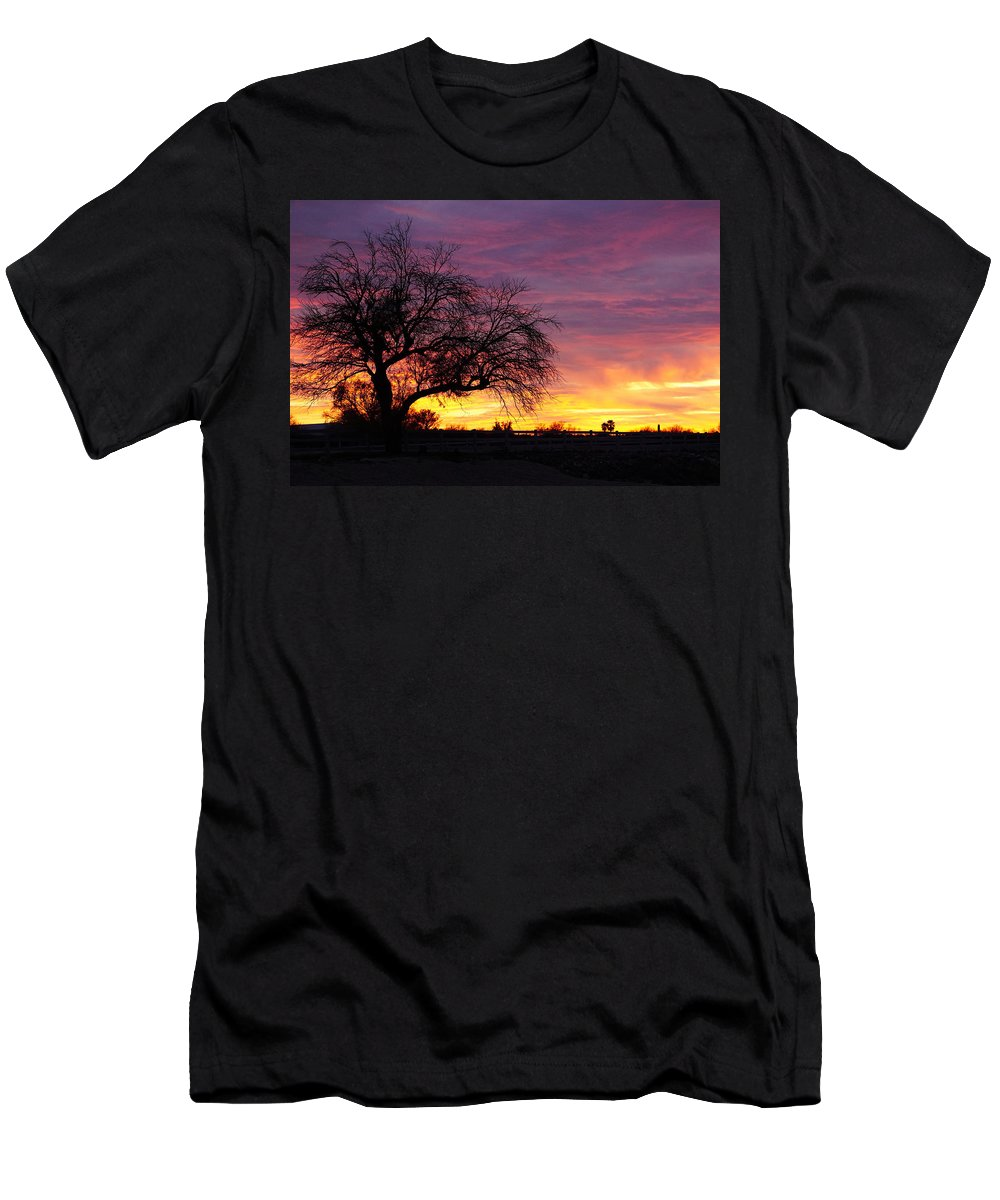 Winter Sunset Men's T-Shirt (Athletic Fit) featuring the photograph Winter Sunset by Eduardo Palazuelos Romo