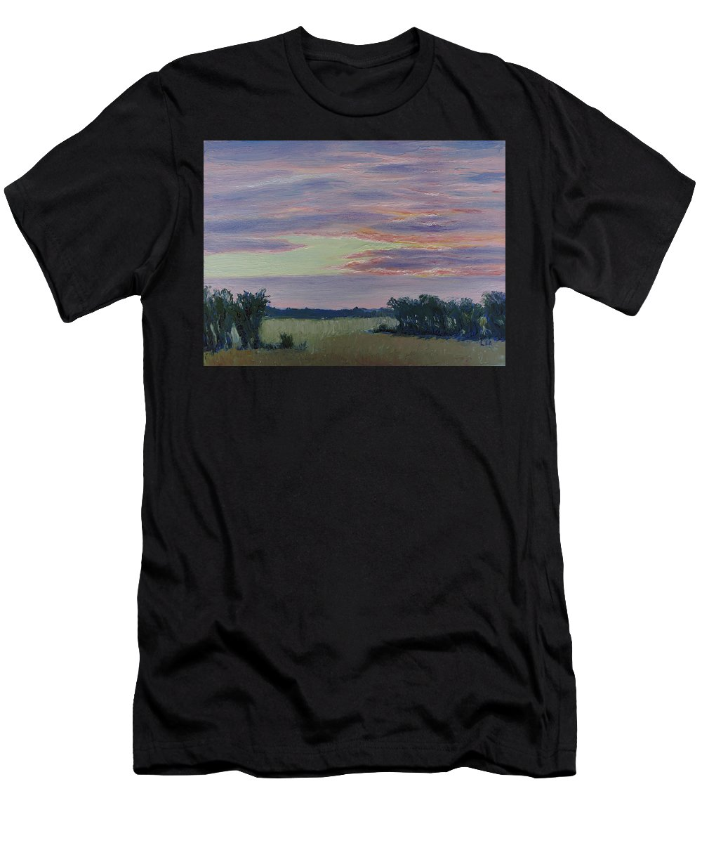 Sunset Men's T-Shirt (Athletic Fit) featuring the painting Winter Sunset by Lea Novak