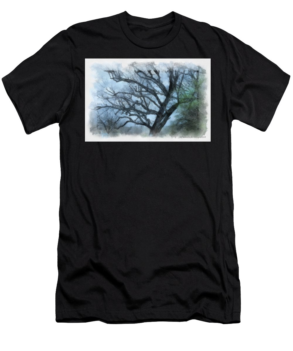 Texas Men's T-Shirt (Athletic Fit) featuring the photograph Winter Tree by Paulette B Wright