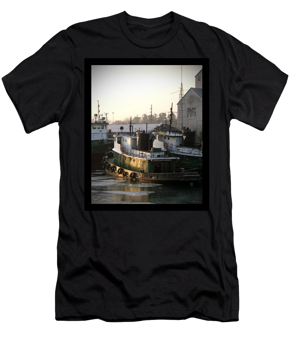 Tugs Men's T-Shirt (Athletic Fit) featuring the photograph Winter Tugs by Tim Nyberg