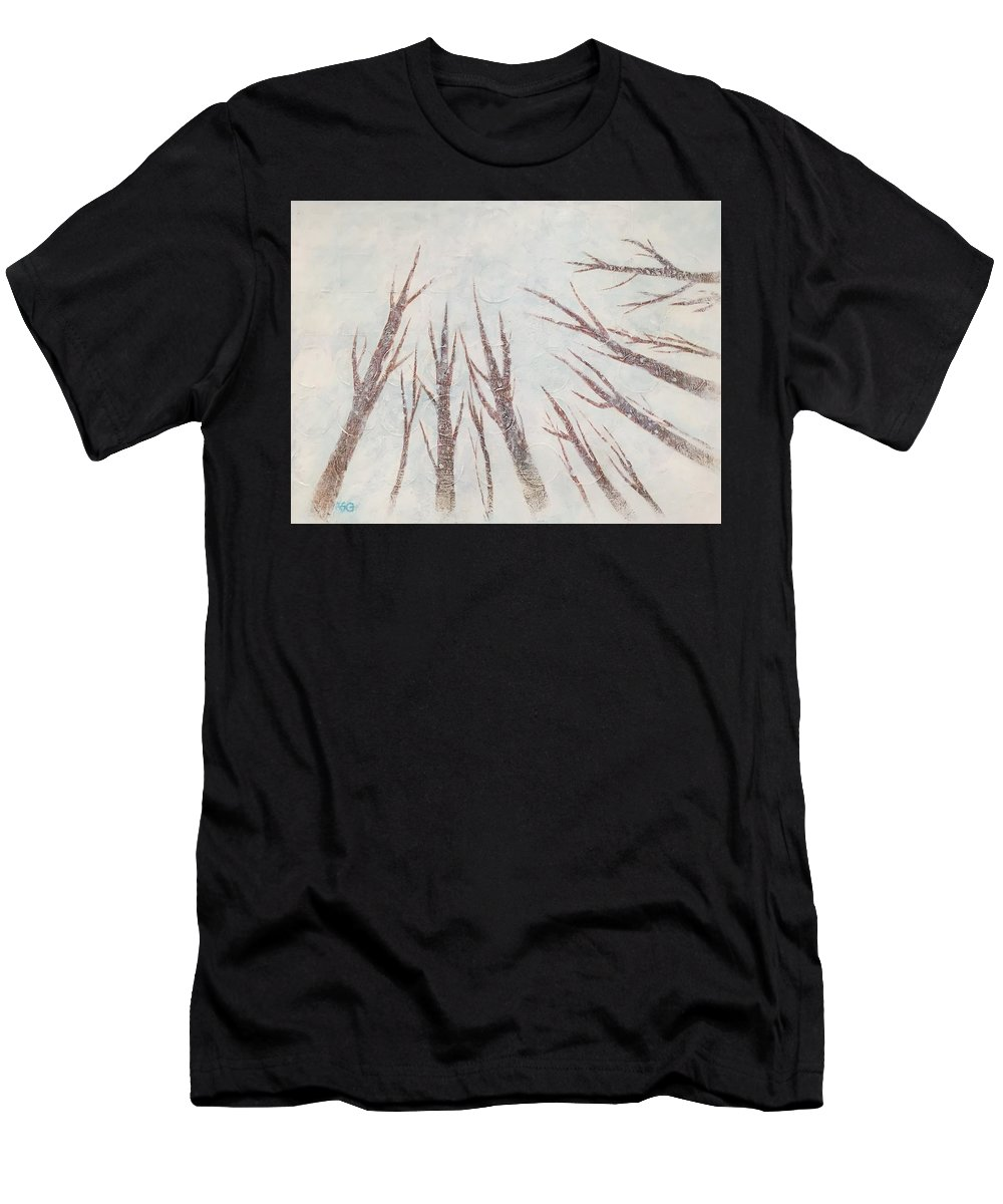 Trees Men's T-Shirt (Athletic Fit) featuring the painting Winter by Wonju Hulse