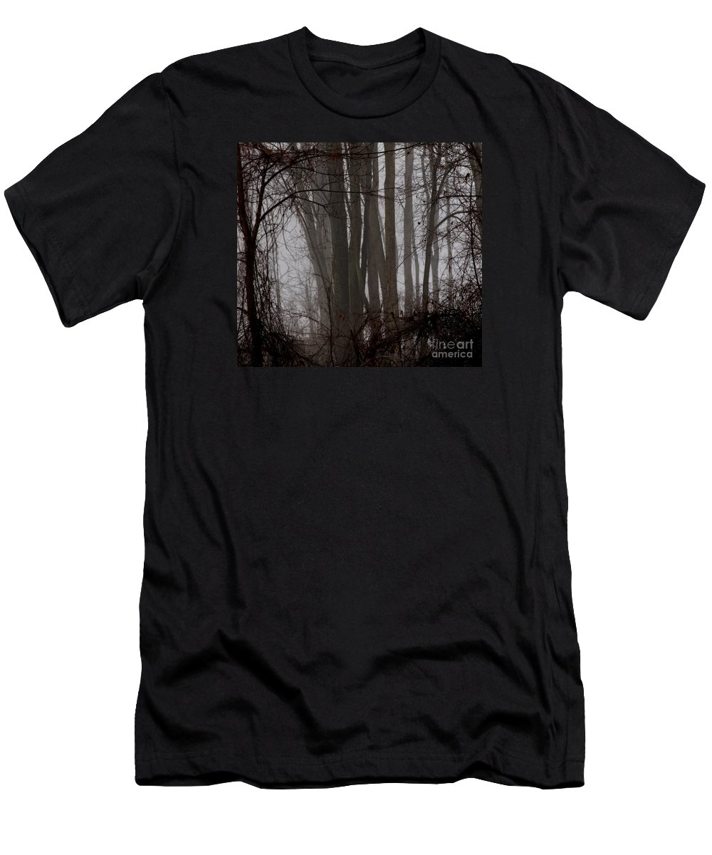 Woods Men's T-Shirt (Athletic Fit) featuring the photograph Winter Woods by Linda Shafer