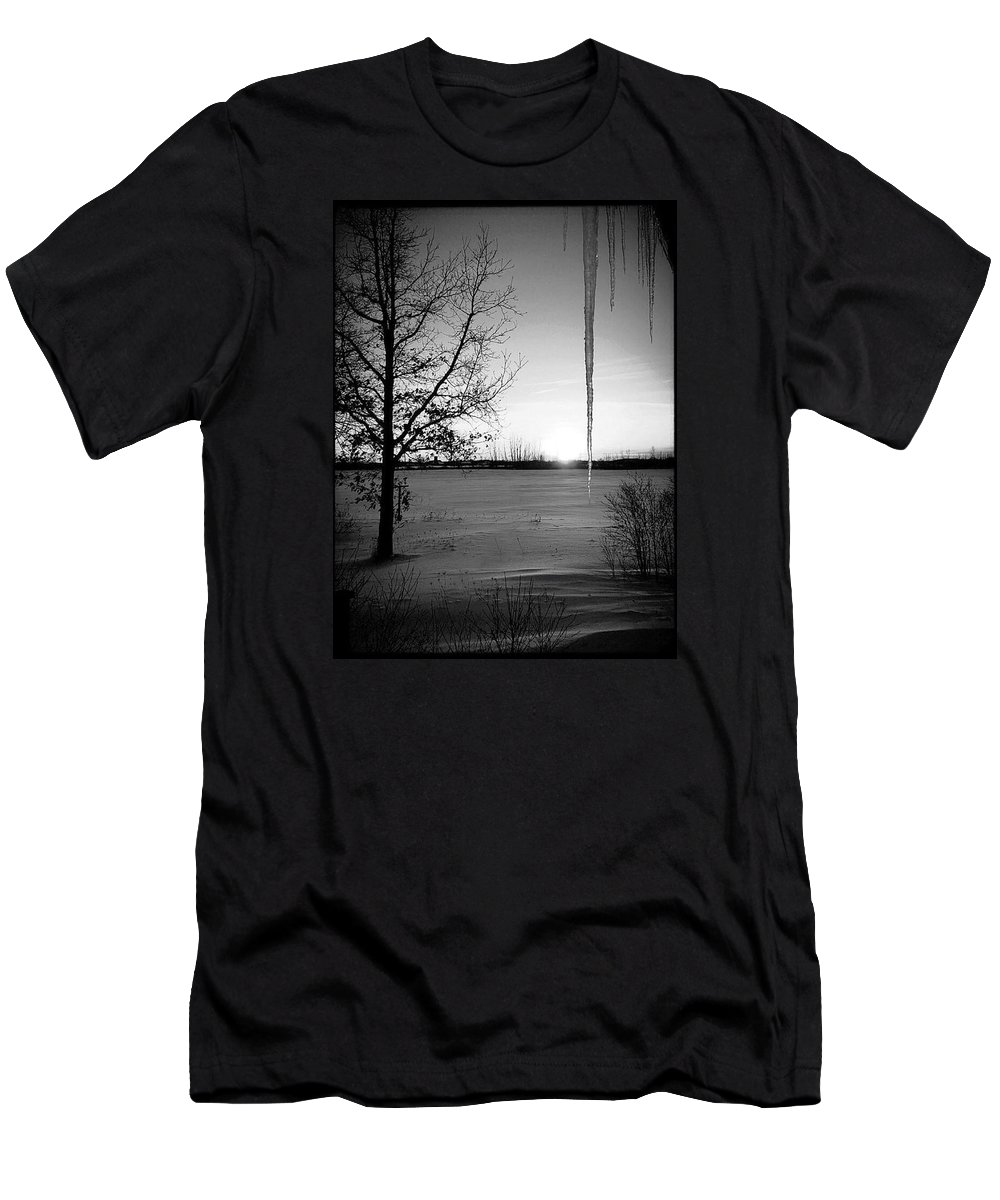 Sunset Men's T-Shirt (Athletic Fit) featuring the photograph Winters Glow #2 by Karen Dzielsky