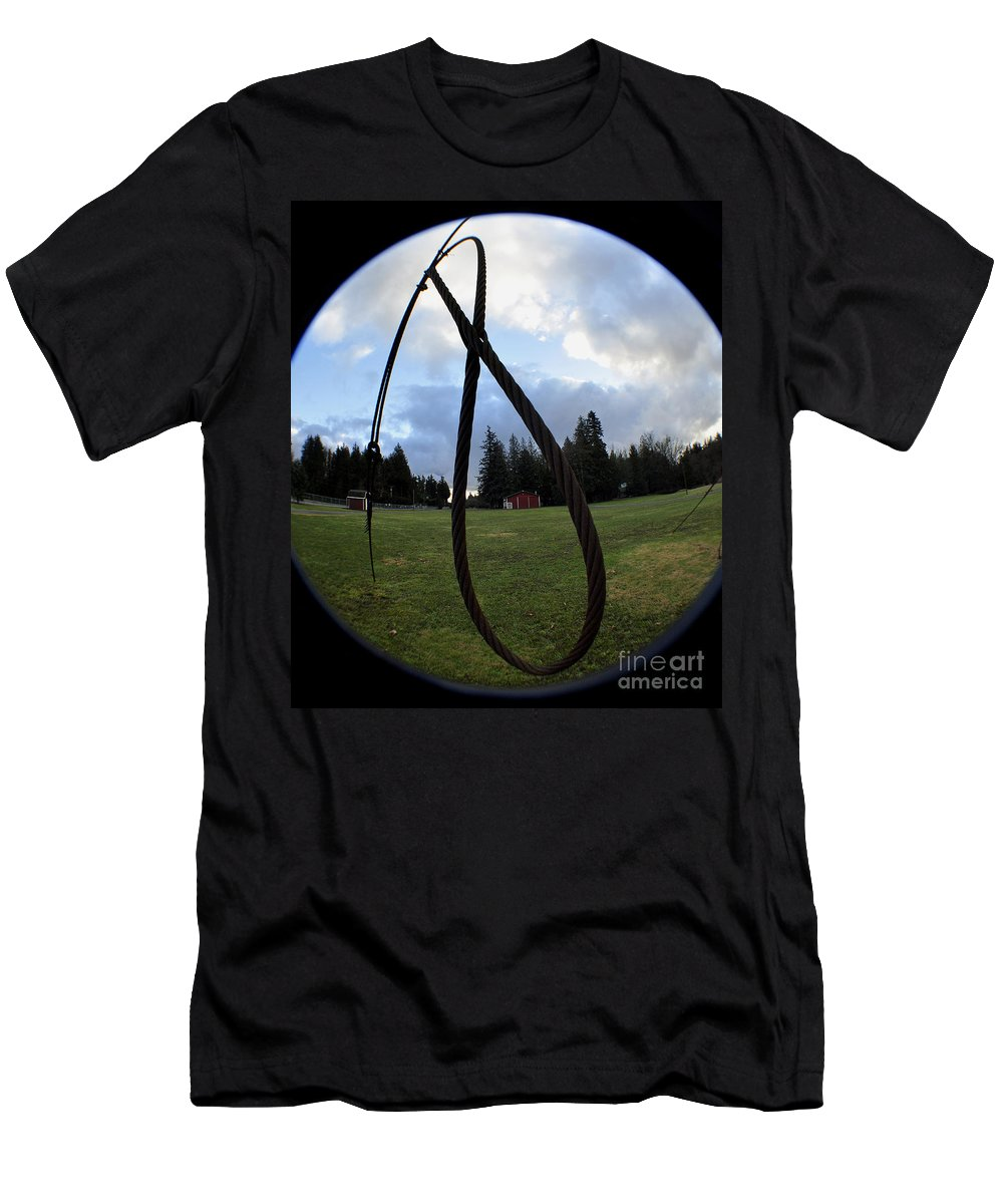 Clay Men's T-Shirt (Athletic Fit) featuring the photograph Wire Rope Loggers Noose by Clayton Bruster