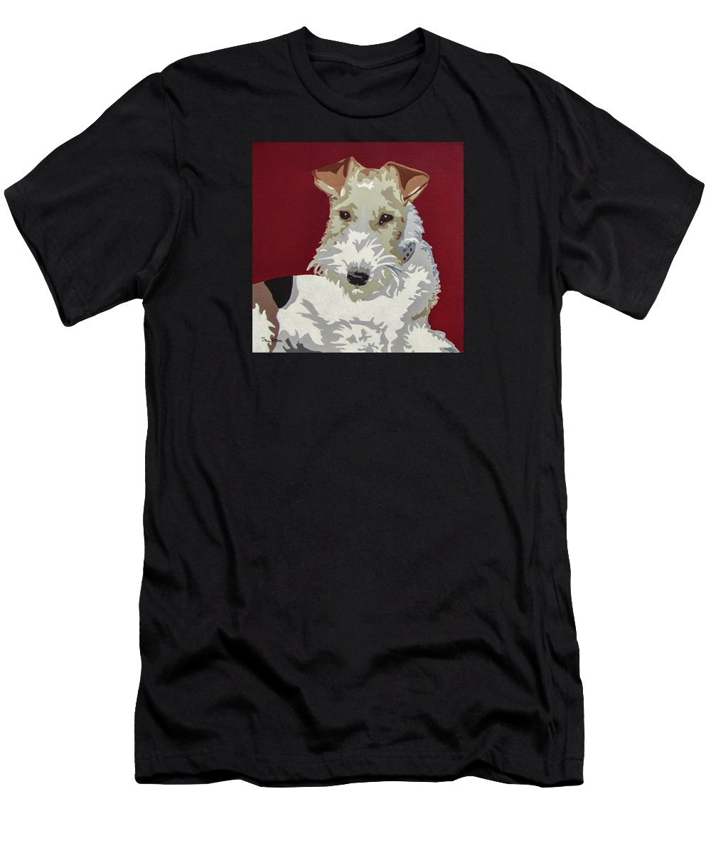 Wire Fox Terrier Men's T-Shirt (Athletic Fit) featuring the painting Wirehaired Fox Terrier by Slade Roberts