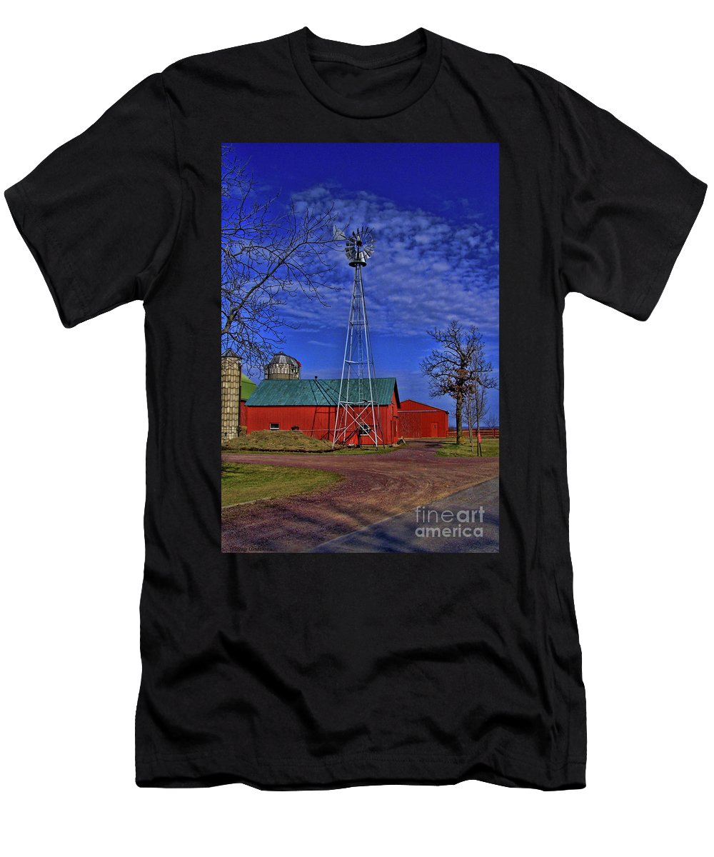 Amish Men's T-Shirt (Athletic Fit) featuring the photograph Wisconsin Amish Farm by Tommy Anderson