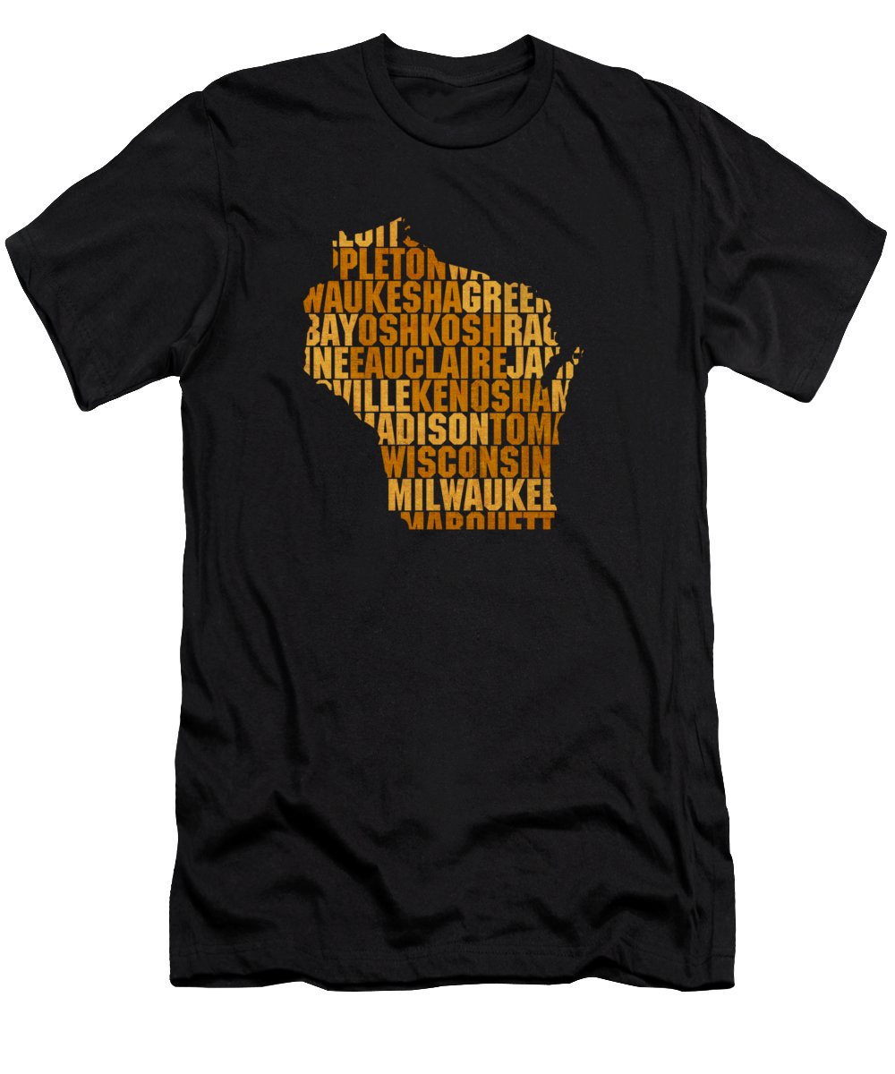 Wisconsin Men's T-Shirt (Athletic Fit) featuring the mixed media Wisconsin State Outline Word Map by Design Turnpike
