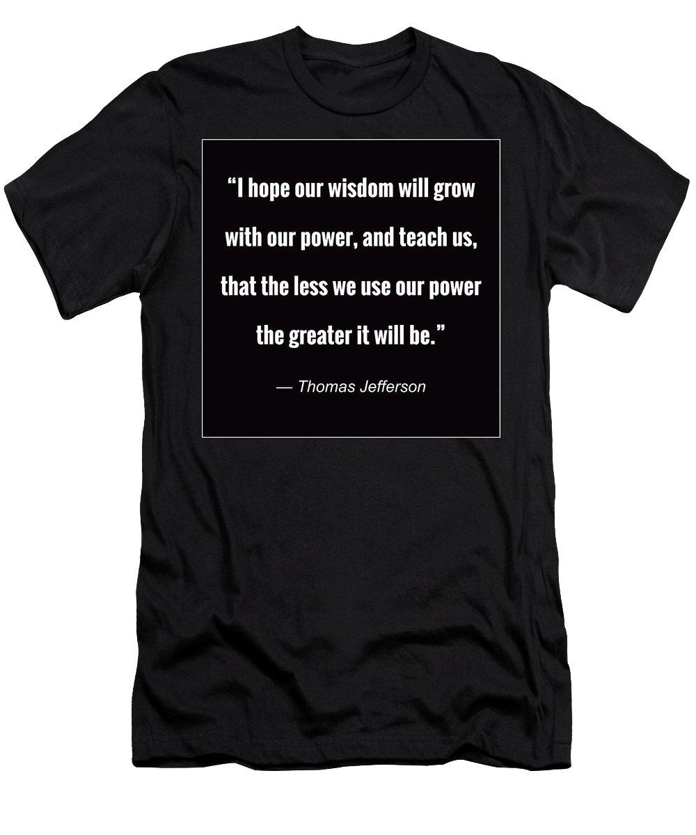 Thomas Jefferson Men's T-Shirt (Athletic Fit) featuring the digital art Wisdom Will Grow by Greg Joens
