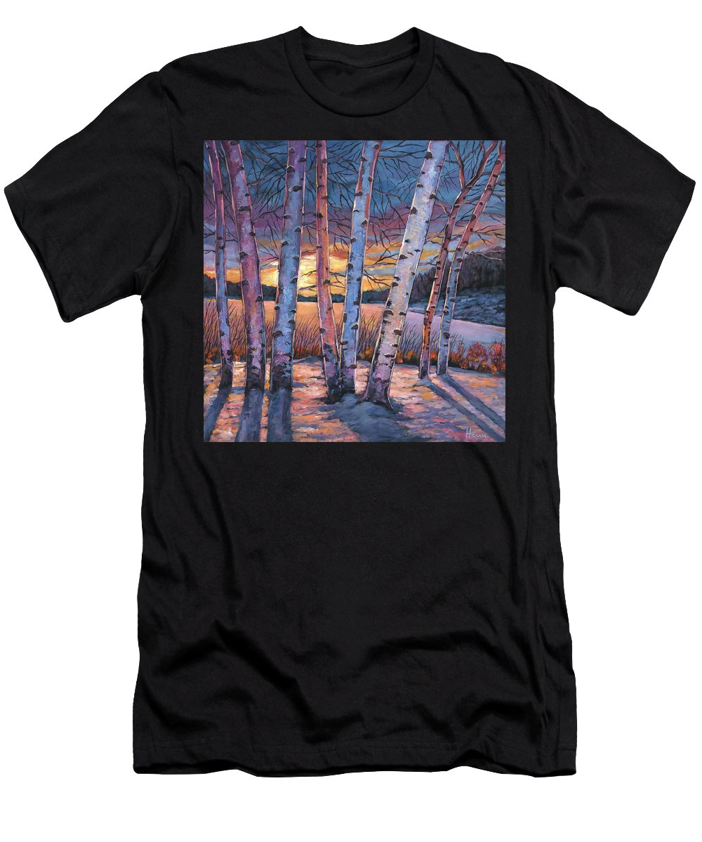 Winter Aspen Men's T-Shirt (Athletic Fit) featuring the painting Wish You Were Here by Johnathan Harris