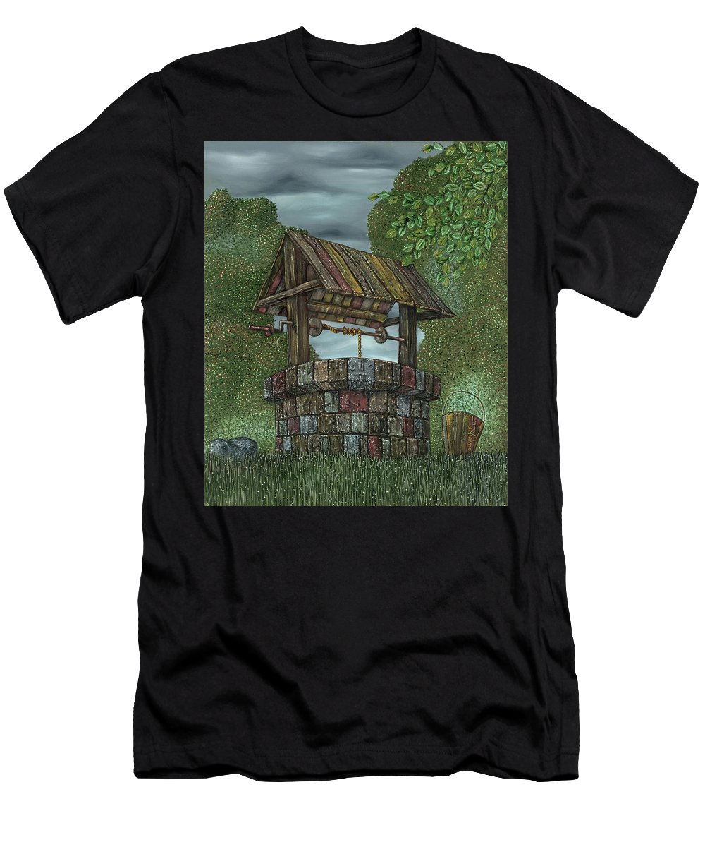 Wishing Well Men's T-Shirt (Athletic Fit) featuring the painting Wishing Well by Dwayne Hall