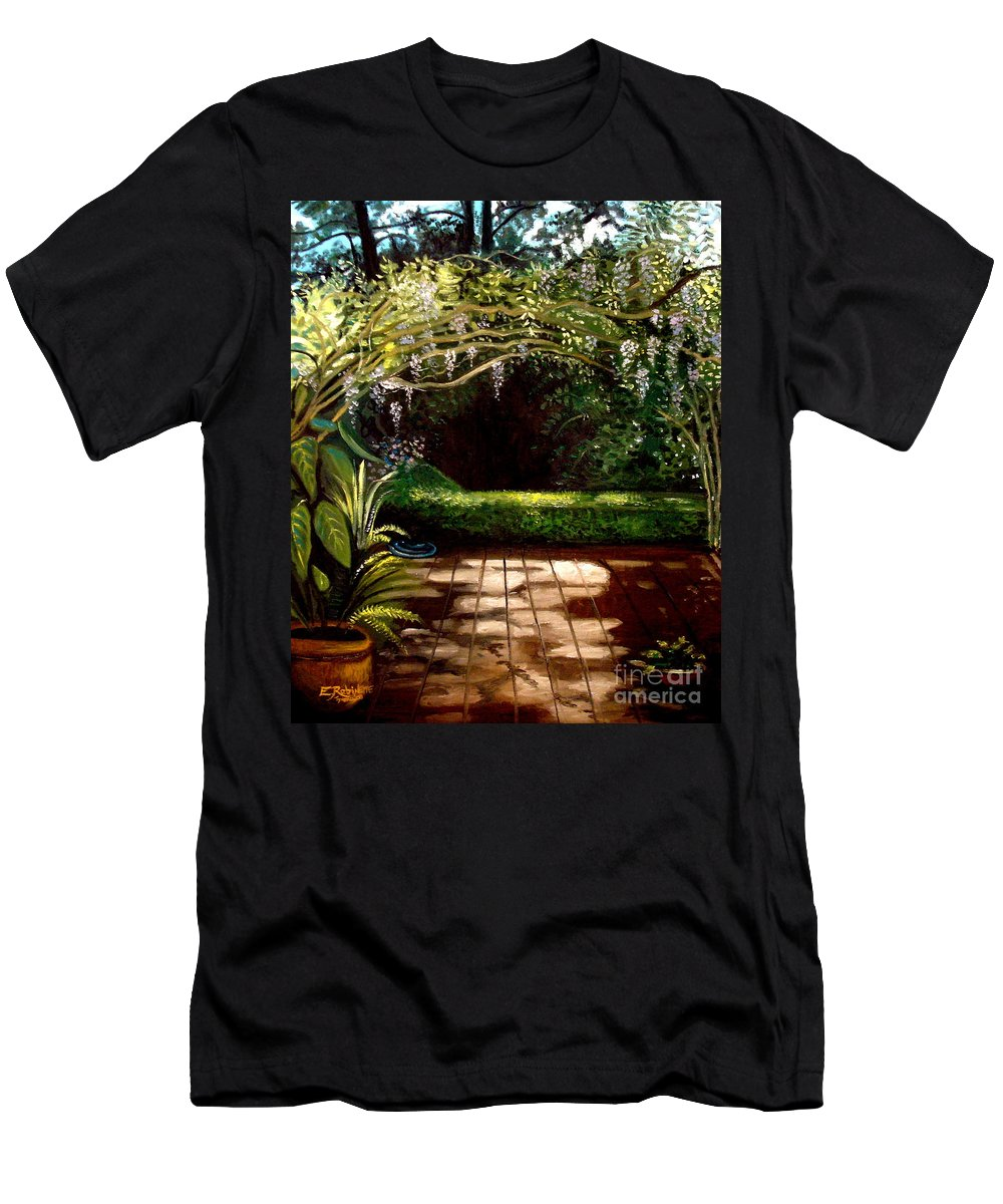 Landscape Men's T-Shirt (Athletic Fit) featuring the painting Wisteria Shadows by Elizabeth Robinette Tyndall