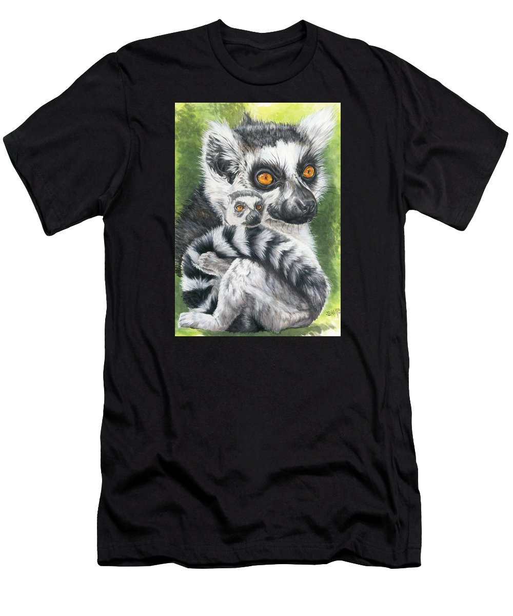 Lemur Men's T-Shirt (Athletic Fit) featuring the mixed media Wistful by Barbara Keith
