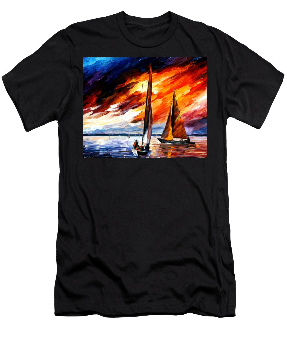 Afremov Men's T-Shirt (Athletic Fit) featuring the painting With The Wind by Leonid Afremov