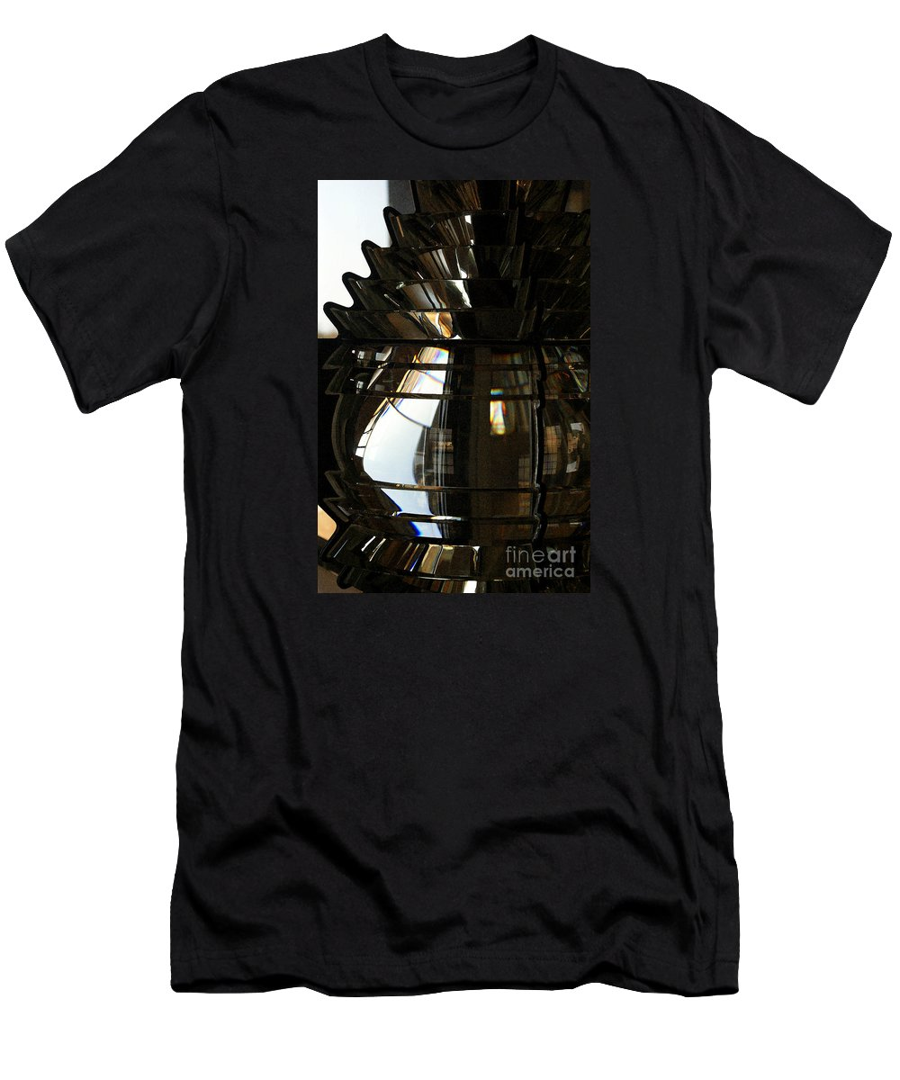 Lighthouse Men's T-Shirt (Athletic Fit) featuring the photograph Within The Rings Of Lenses And Prisms - Water Color by Linda Shafer