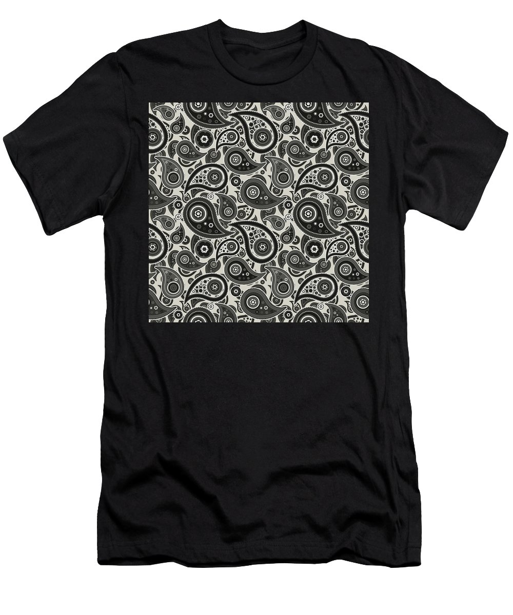 Wolf Men's T-Shirt (Athletic Fit) featuring the digital art Wolf Gray Paisley Design by Ross