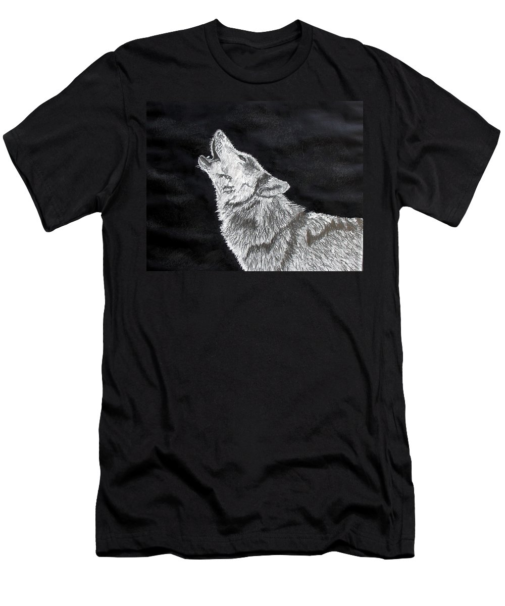 Pencil Men's T-Shirt (Athletic Fit) featuring the drawing Wolf Howl by Stan Hamilton