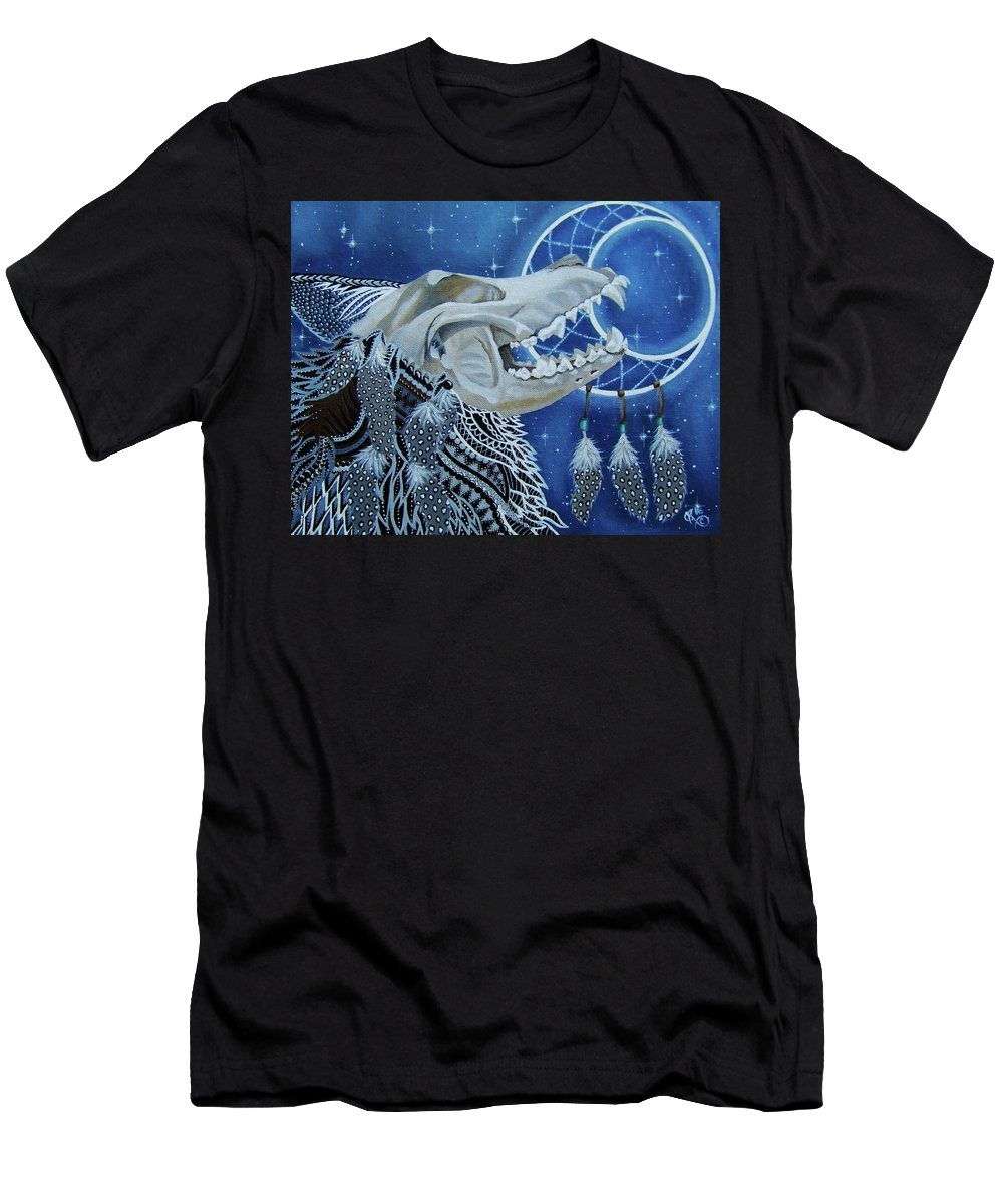 Wolves Men's T-Shirt (Athletic Fit) featuring the painting Wolf Skull by The Art of Christina Marin