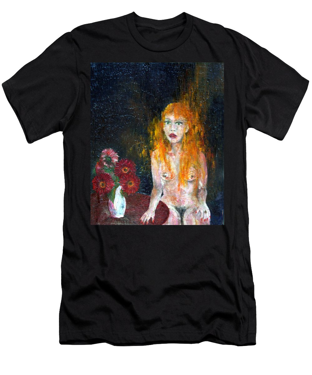 Imagination Men's T-Shirt (Athletic Fit) featuring the painting Woman And Flowers by Wojtek Kowalski