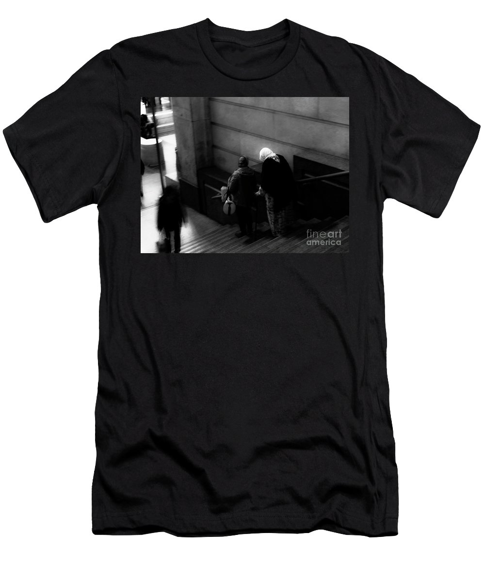 B&w Men's T-Shirt (Athletic Fit) featuring the photograph Woman by Diego Muzzini