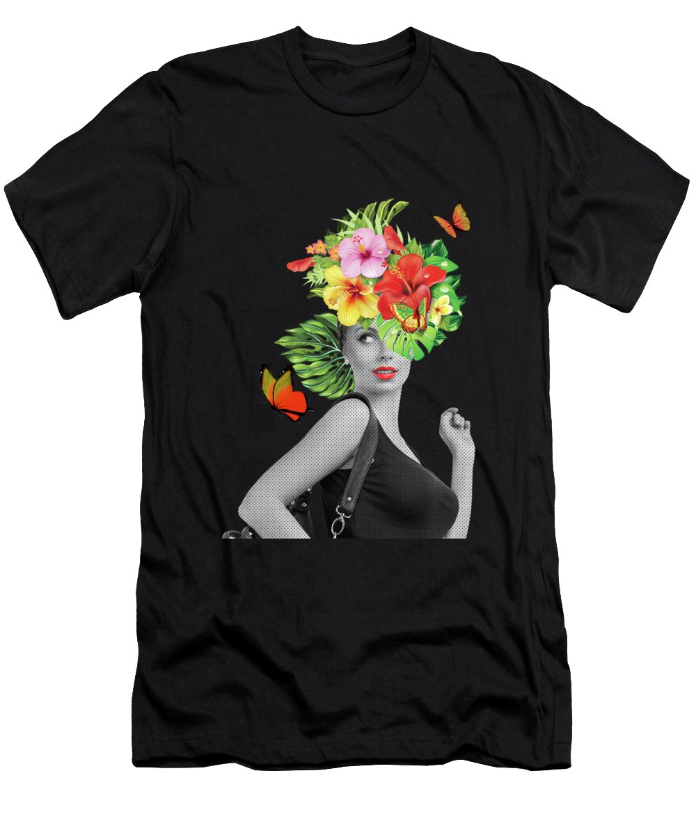 Woman Men's T-Shirt (Athletic Fit) featuring the photograph Woman Floral by Mark Ashkenazi
