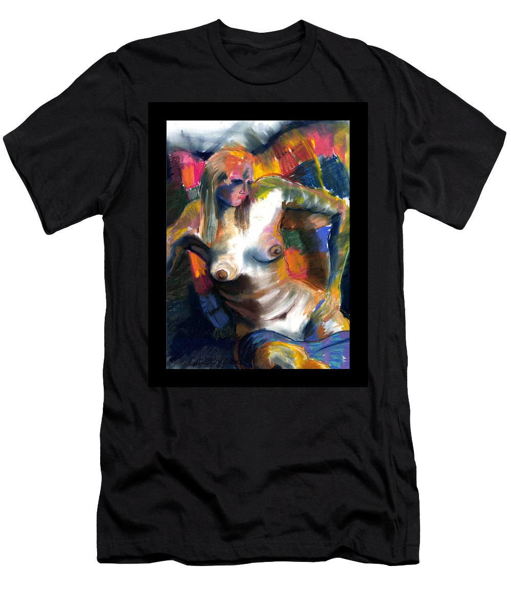 Drawing Men's T-Shirt (Athletic Fit) featuring the drawing Woman In Color by Gideon Cohn
