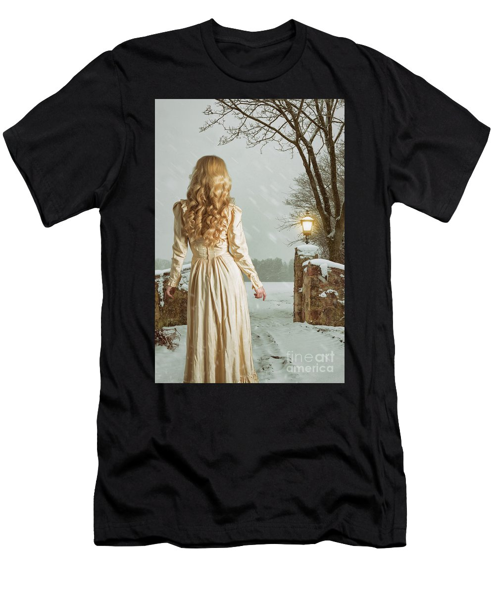Woman Men's T-Shirt (Athletic Fit) featuring the photograph Woman In Winter Scene by Amanda Elwell