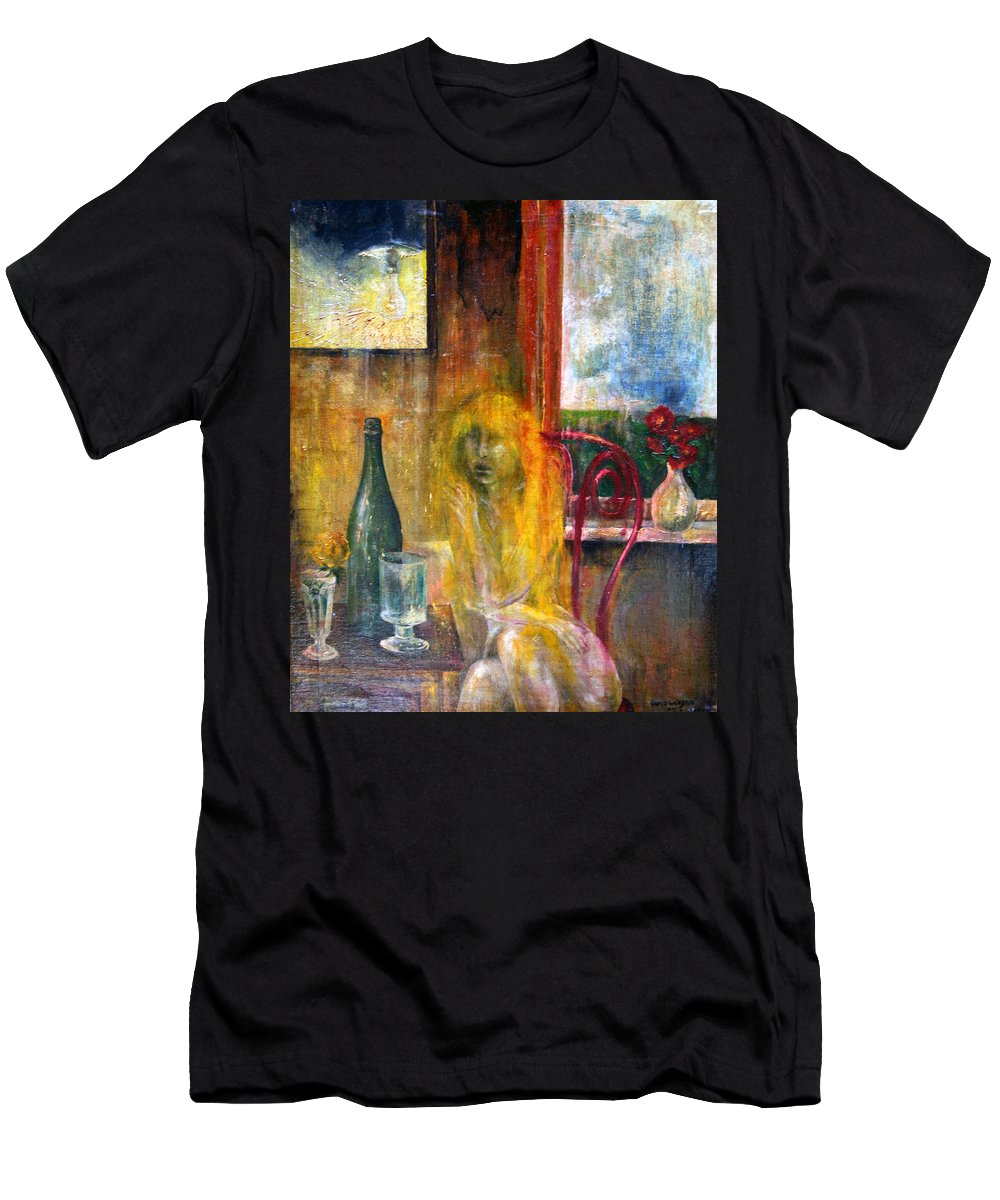 Imagination Men's T-Shirt (Athletic Fit) featuring the painting Woman Near Window by Wojtek Kowalski