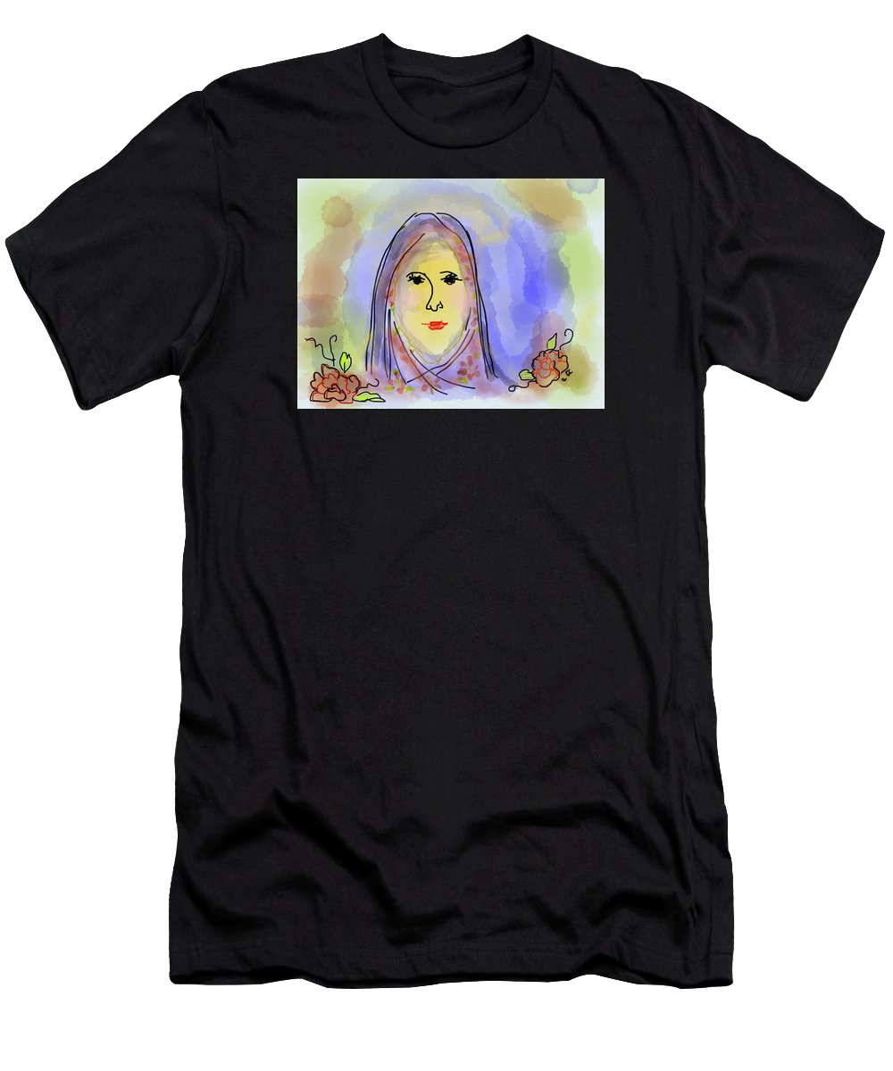 Blessed Mother Mary Men's T-Shirt (Athletic Fit) featuring the digital art Woman Of Grace by Laurel Foster