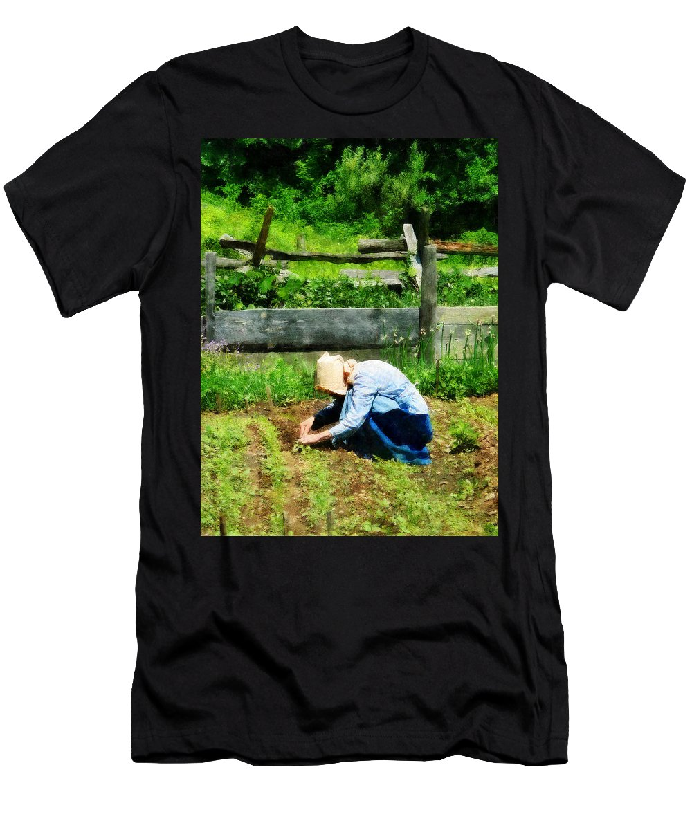 Garden Men's T-Shirt (Athletic Fit) featuring the photograph Woman Planting Garden by Susan Savad