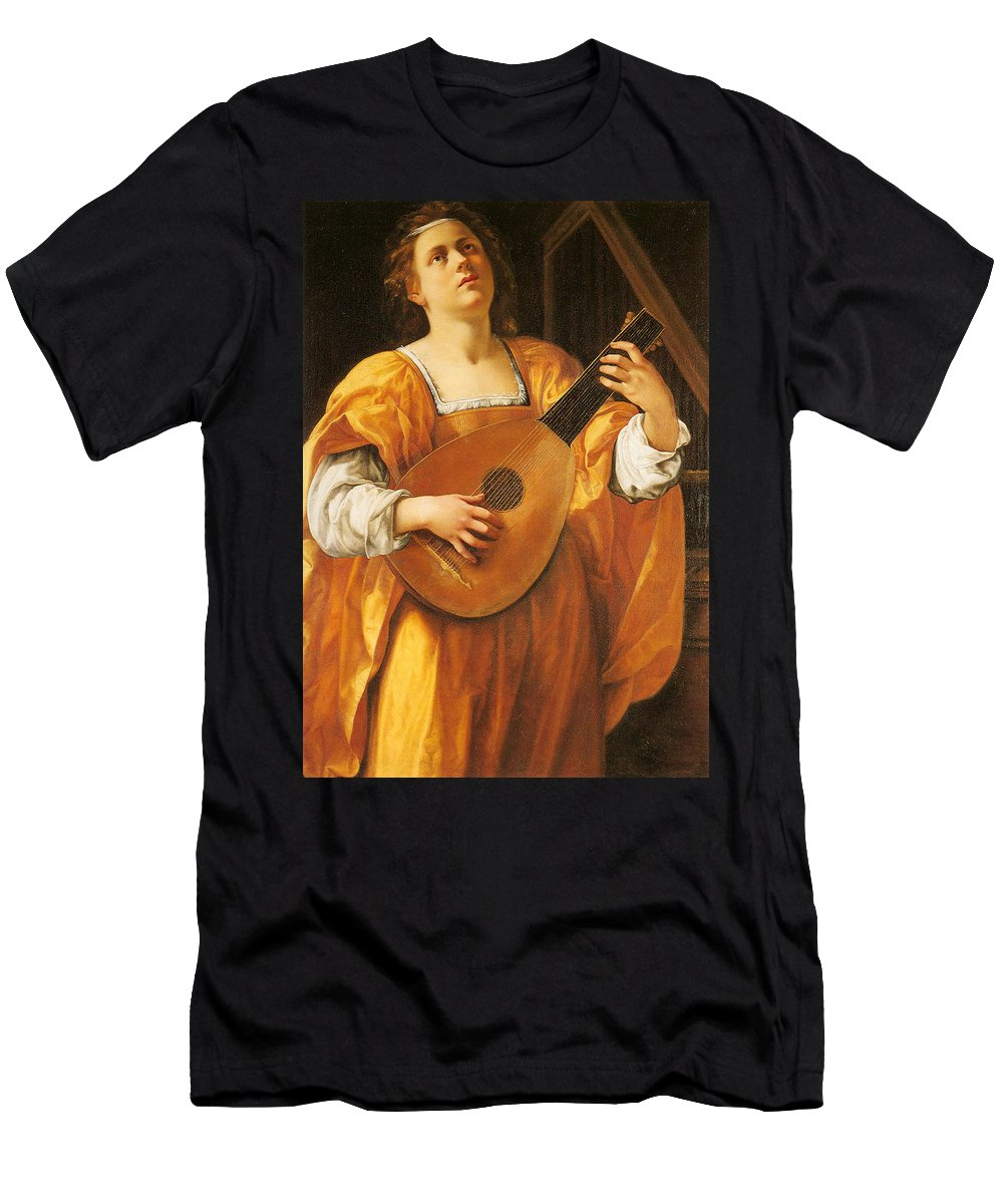 Woman Playing A Lute Men's T-Shirt (Athletic Fit) featuring the painting Woman Playing A Lute by MotionAge Designs